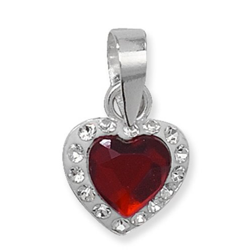 Sterling Silver Red Crystal Heart Pendant On A Snake Necklace