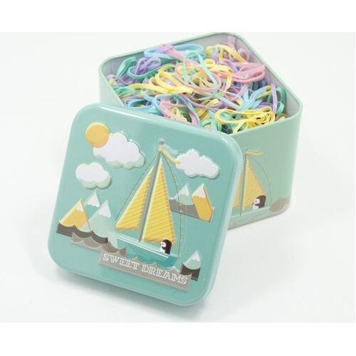 VNDEFUL 1 Box (700PCS) Girls Disposable Hair Ponytail Holders Elastic Hair Bands Hair Tie Rubber Bands with Cute Tin Box