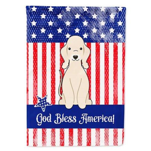 Carolines Treasures BB3086CHF Patriotic USA Bedlington Terrier Sandy Flag Canvas House Size