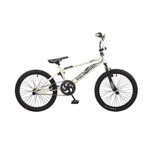 "Rooster Big Daddy Kids Freestyle 20"" Wheel BMX Bike Gyro Stunt Pegs White Black"
