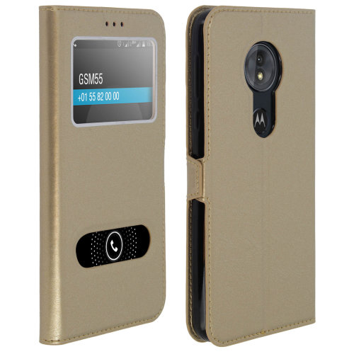 Double window flip standing case for Motorola Moto G6 Play with TPU shell - Gold