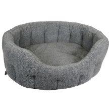 Premium Oval Fleece Softee Bed Silver Grey Size 5 76x64x24cm