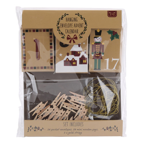 Hanging Envelope Advent Calendar Envelopes x 24, Pegs, Gold String Make Your Own
