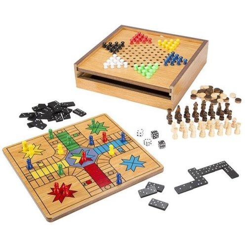 Hey Play 12-HY2764 7 In 1 Combo Game - Chess, Ludo & Chinese Checkers