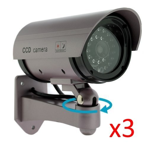 Kabalo 3 x Realistic Dummy CCTV Security Camera Flashing Red LED Indoor Outdoor Silver