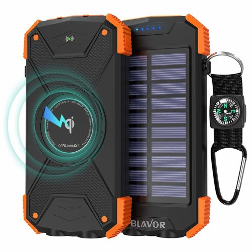 BLAVOR Wireless Power Bank, Solar Charge 10000mAh External Battery LED Light Waterproof Shockproof for Cellphone iPad wireless earphone and more
