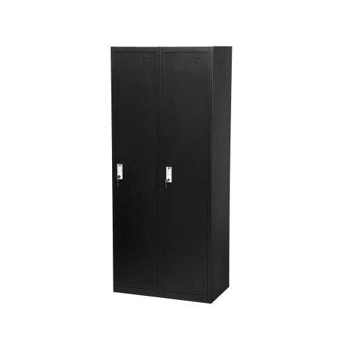 2 Door Metal Storage Cabinet Black OHRID