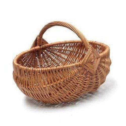 Wicker Garden Trug Basket with Diamond Pattern Handle
