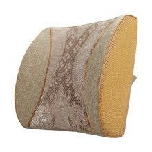 Lumbar Support Back Cushion Pillow Backrest for Home/Office/Car Seat - Coffee