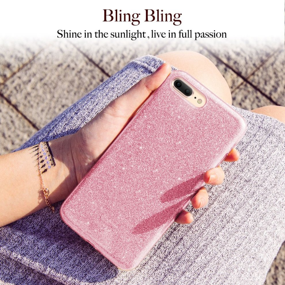 uk availability d187d 6526a ESR iPhone 8 Plus Case, iPhone 7 Plus Case, Luxury Glitter Sparkle Bling  Designer Case Slim Fit Shock Absorption Shining Fashion Style for iPhone  7...