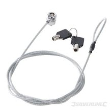 1800mm Universal Laptop Lock -  universal laptop lock 1800mm strong lightweight steel cable silverline keys