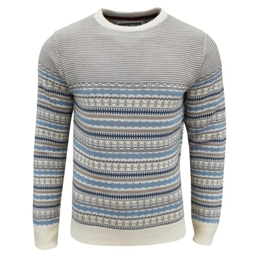 Soul Star Men's Stifler Nordic Striped Knitted Jumper Sand