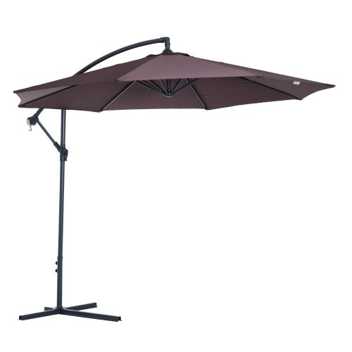 (Coffee) Outsunny 3m Hanging Umbrella Parasol