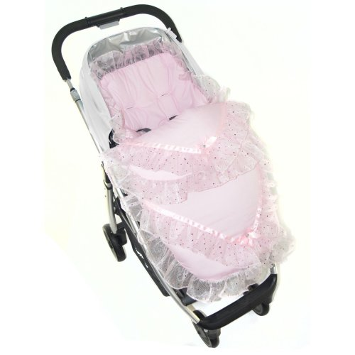 Broderie Anglaise Footmuff / Cosy Toes/ Cost Toes Gypsy/ Romany Pushchairs - Sparlke Pink