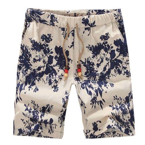 Summer Floral Linen Men's Shorts Sunflower Beach Swim Board Shorts