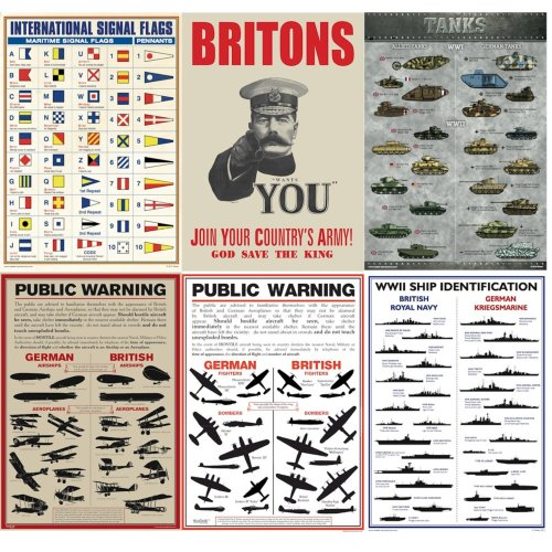 WW1 WW2 A3 Reproduction Posters Aircraft Tanks Warships 100 Year Anniversary Historical Educational Re-enactments