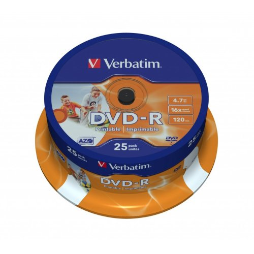 Verbatim DVD-R Wide Inkjet Printable ID Brand 4.7GB DVD-R AZO 25pc(s)