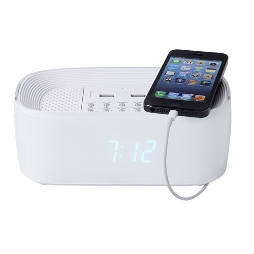 Groov-e Bluetooth Wireless Alarm ClockRadio with USB Phone Charging Points - White