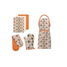 Orange Leaf Oven Gloves, Apron And Tea Towels, Set Of 6