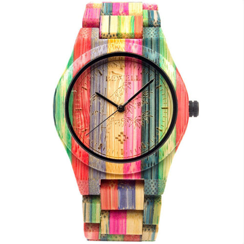 Bewell Unisex Coloured Natural Bamboo Watch