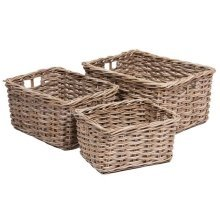 Set of 3 Rectangular Wicker Storage Basket with Integral Handles