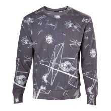 Star Wars Adult Male Imperial Fleet TIE Fighters Sublimation Sweater XXL - Grey