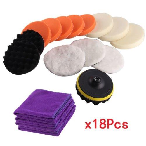 Set of 18 Buffing Car Polishing Sponge Waxing Pads Kit Polisher Buffer Adapter