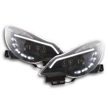 Daylight headlight  with DRL Opel Corsa D Year from 2011 black chrome RHD