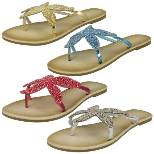 Ladies Savannah Beaded Starfish Toe Post Sandals