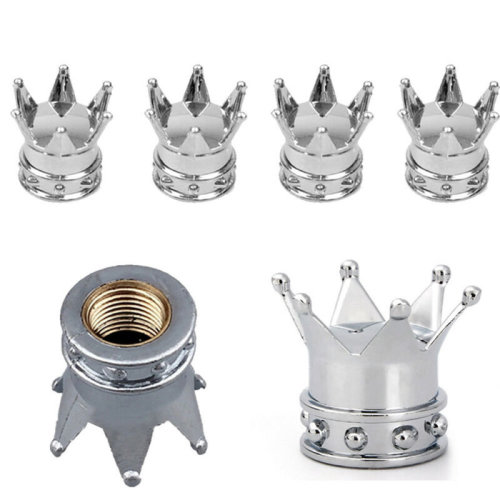 4PCS Silver Crown Alloy Car Wheel Tire Tyre Valve Dust Caps Covers Tire Set
