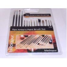 Blackspur 15pc Assorted Artist Brushes -  paint brushes artist assorted 15 15pc painting craft oil set blackspur flat tipped acrylic
