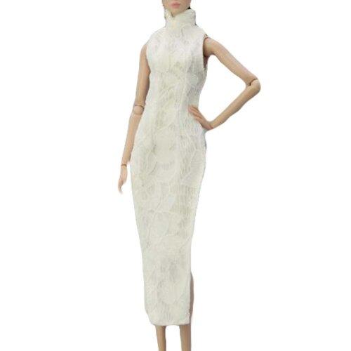 Handmade Doll Evening Dress Chinese Style White Cheongsam Dress for 30 cm Doll