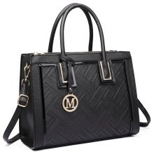 (Black) Miss Lulu Embossed Faux Leather Shoulder Bag