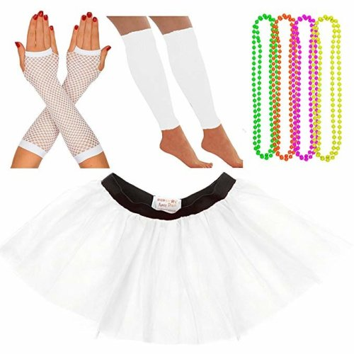 dbee25a07 Neon Tutu, Fishnet Gloves, Legwarmers, 4 Pack Necklace Beads on OnBuy
