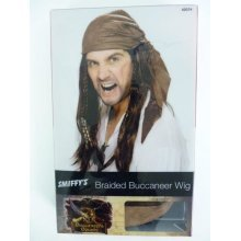 Adult's Buccaneer Pirate Wig -  pirate wig brown buccaneer fancy dress bandana accessory mens smiffys costume new