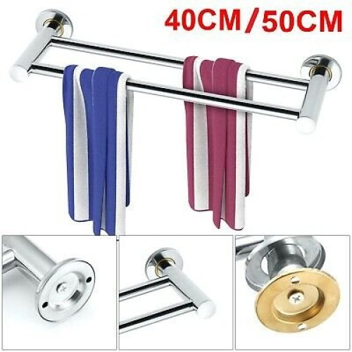 40/50cm Towel Rail Rack Holder Wall Mounted Bathroom Shelf Chrome Silver UK