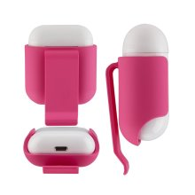 InventCase Plastic Belt Holster Clip Case Cover for Apple AirPods Earphones / Headphones Charging Case - Rose Red
