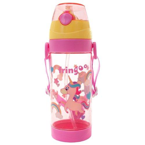FRINGOO® Kids Children Straw Drinks Water Bottle 550ml Handle Strap Flip Top (Unicorns)