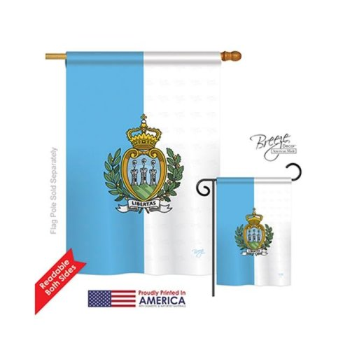 Breeze Decor 08320 San Marino 2-Sided Vertical Impression House Flag - 28 x 40 in.
