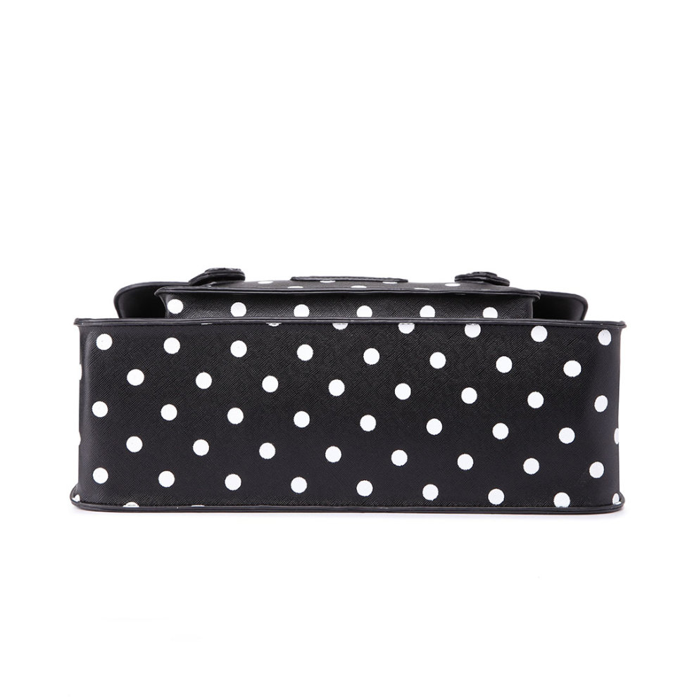 ... 1 Miss Lulu School Bag Cross Body Messenger Shoulder Satchel PU Leather  Polka Dots Black - 2 ... 46ca1fc4a2f9a