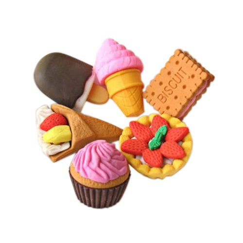 3 Sets Of Creative Cute Cartoon Erasers Pastry Modeling
