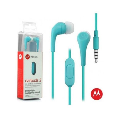 Motorola MO-SH006TURQ 3.5 mm Hands Free Earbuds 2 Premium Stereo with Remote & Mic - Turquoise