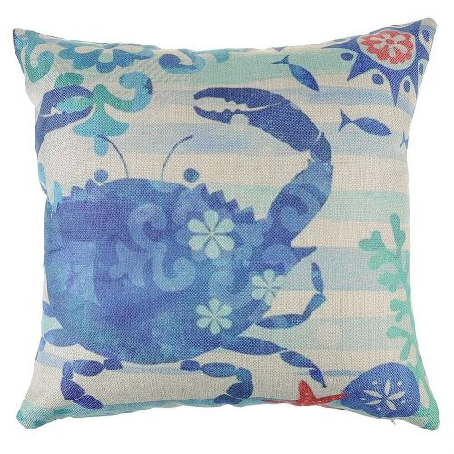 "Melyaxu Sea Horse Pillow Cover Ocean Theme Pillowcase Cotton Linen Square Cushion Cover Home Sofa Couch Bedroom Decorative 18""X18"" Purple (Color-2)"