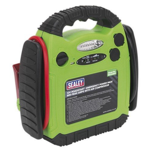 Sealey RS1322HV RoadStart® Emergency Power Pack with Air Compressor 12V 900 Peak Amps