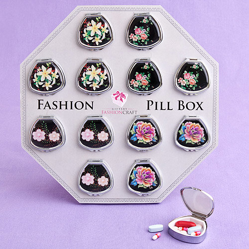 Fan Shaped Pill Boxes in Colourful Floral Designs