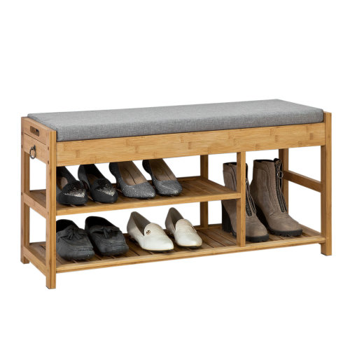 SoBuy® FSR47-N, Hallyway Bamboo Shoe Rack Shoe Bench with Seat Cushion