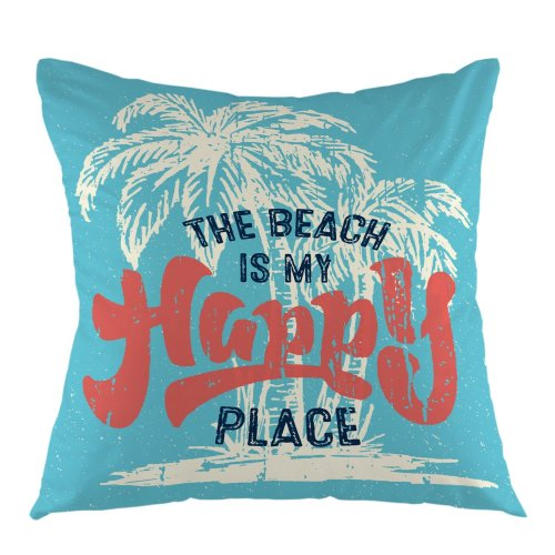 Melyaxu The Beach is My Happy Place with Palm Tree Letter Pillow Case Home Decorative Square Cushion Cover for Sofa Bed Chair Couch 18 x 18 Inch