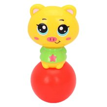 Set of 2 Standing Pig Cartoon Hand Bell Baby Plastic Infant Toys Rattles