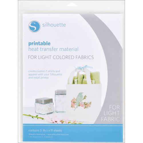 "Silhouette Printable Heat Transfer Material 8.5""X11"" 5/Pkg-For Light Fabrics"
