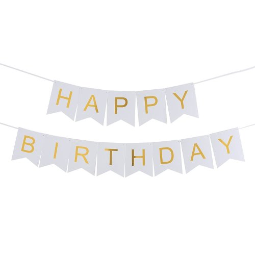 7f921b04b862f Monkey Home Happy Birthday Wall Banner, Snow White and Gold Party  Decorations, Versatile, Beautiful, Swallowtail Bunting Flag garland  Surprise...